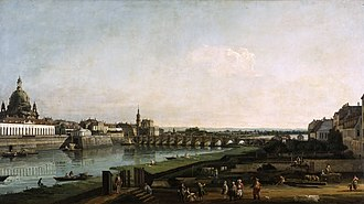 Bernardo Bellotto - Dresden From the Right Bank of the Elbe Above the Augustus Bridge, Gemäldegalerie Alte Meister