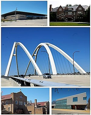 Bettendorf, Iowa - Top: Quad Cities Waterfront Convention Center, Bettendorf House, Middle: I-74 Bridge, Bottom: The Abbey Center, The Family Museum.