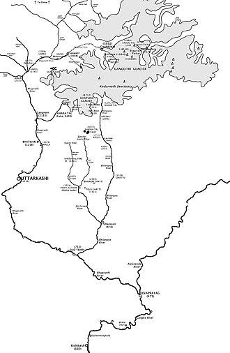 Bhagirathi River - Image: Bhagirathi river map