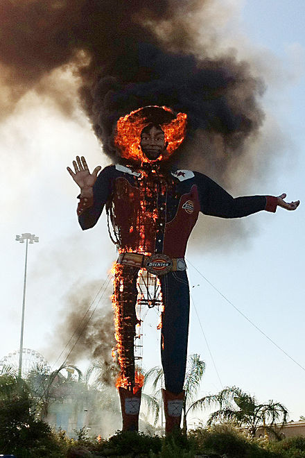 Big Tex as seen during the fire on 19 October 2012 Big Tex fire.2 retouched.jpg