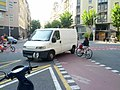 Bikeway cannot guard against van backing out of parking space in intersection (18763072906).jpg