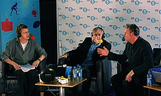 Kermode and Mayo's Film Review - Mayo (left) and Kermode (right) broadcasting live from Edinburgh in June 2009, with guest Bill Forsyth.