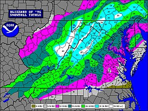 North American blizzard of 1996 - A NOAA snowfall map depicting accumulation in Virginia, after the North American blizzard of 1996. Most of the Shenandoah Valley received two to three feet of snow.