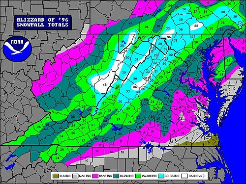 North American blizzard of 1996 - Wikipedia on northeast snow depth map, snow accumulation map, snow belt map, 24 hour snow map, snow in uk today, snow prediction map, first snow map, snow in southeast, new england snow map, snow storm map, national snow map, snow on east coast 2013, snow conditions in new hampshire, snow in upstate new york, snow in newark new jersey, snow forecast map, lake effect snow map, snow kentucky map, snow fall map, snow forecast for washington state,