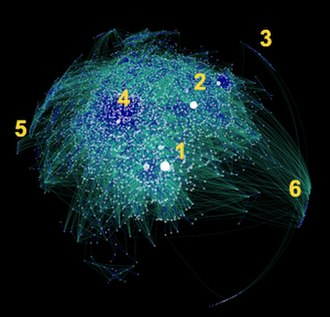 "Blog - An artist's depiction of the interconnections between blogs and blog authors in the ""blogosphere"" in 2007."