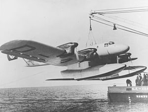 Blohm & Voss Ha 139 floatplane being lifted by a crane c1937.jpg