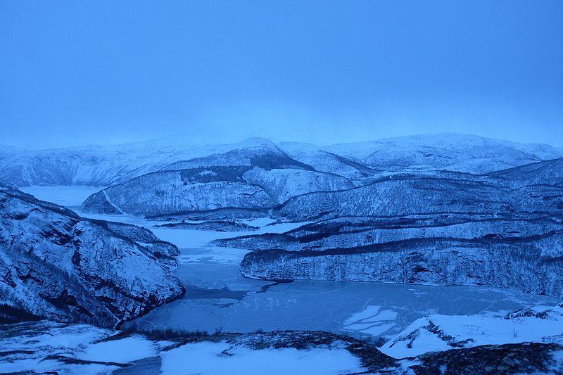 File:Blue hour and snowfall over Øvervatnet lake.jpg
