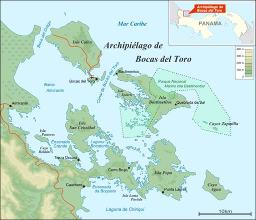 Bocas del Toro Archipelago map