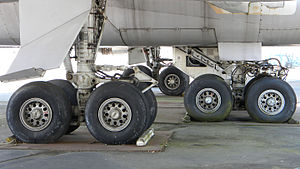 A view of the 747's four main landing gear, each with four wheels
