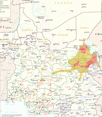 Boko Haram insurgency - Boko Haram in the Lake Chad Region, as of 14 March 2015