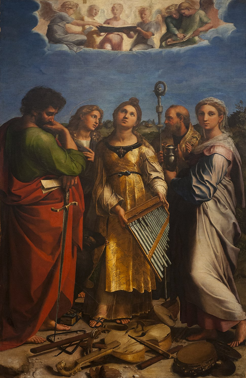 Bologna Pinacoteca Nazionale - Rafaël Santi (1483-1520) - Heilige Cecilia in extase met Paulus, Johannes (evangelist), Augustinus en Maria Magdalena - 26-04-2012 9-13-18