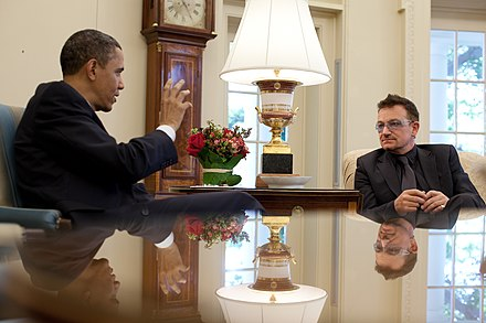 Bono meeting with US President Barack Obama in 2010. Bono with Barack Obama.jpg