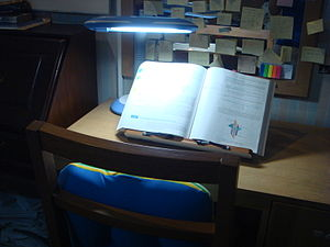 Bookstand with large textbook