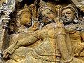 Borobudur - Lalitavistara - 009 E, Goddesses visit Queen Maya who has vowed Celibacy (detail 2) (11247941635).jpg