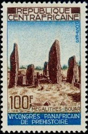 Central African Republic - The Bouar Megaliths, pictured here on a 1967 Central African stamp, date back to the very late Neolithic Era (c. 3500–2700 BC).