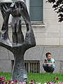 Boy with Public Sculpture - Silistra - Bulgaria (43079124662).jpg