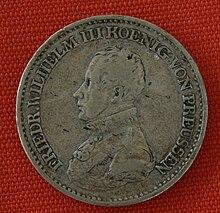 Thalermünze von 1819 mit Konterfei Friedrich WilhelmIII. (Quelle: Wikimedia)
