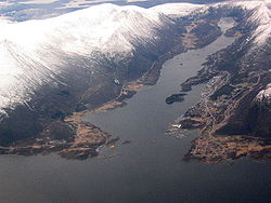 View of Brattvåg on the right side of the fjord