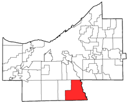 Location of Brecksville in Cuyahoga County