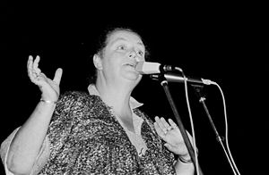 """Music of Cornwall - Brenda Wootton, """"The Voice of Cornwall"""", during a performance"""