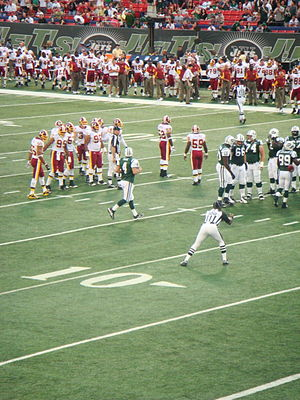 2008 New York Jets season - Brett Favre and the Jets in their preseason matchup against the Washington Redskins, August 16