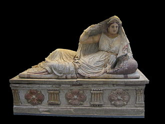 Etruscan civilization - Painted terracotta Sarcophagus of Seianti Hanunia Tlesnasa, about 150–130 BC.