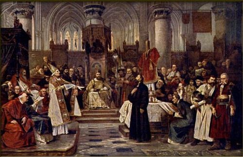 Painting of Jan Hus in Council of Constance by Vaclav Brozik. Brozik, Vaclav - Hus pred koncilem 6. cervence 1415.jpg