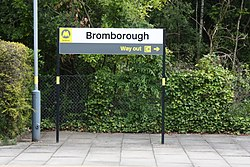Bromborough station sign (28368570190).jpg