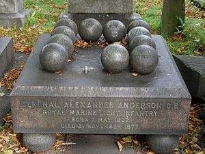 Alexander Anderson (Royal Marines officer) - Funerary monument, Brompton Cemetery, London)