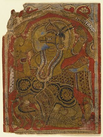 Naigamesha - Harinegameshi carrying the embryo, fragment of a leaf from a dispersed Kalpasutra, Brooklyn Museum