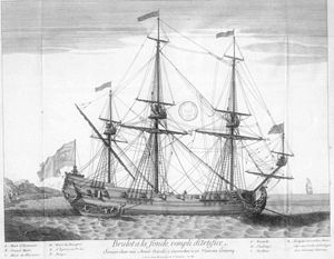 Fire ship - French fireship at anchorage. The full-resolution image shows details specific to fireships, notably the exit door between the two aftmost gunports; the chain securing an escape boat; an aperture below exit door to light a fuse; and grappling hooks on the yardarms.