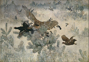 Bruno Liljefors - Hawk and Black-Game, depicting a Northern goshawk hunting Black grouse