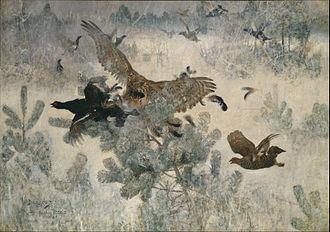 Bruno Liljefors - Hawk and Black-Game, depicting a Northern goshawk hunting Black grouse