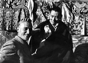 Bruno Beger - Anthropologist Beger being blessed by Tibet's Regent, Reting Rinpoche, in Lhasa, in 1938.