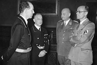 Roland Freisler - A meeting of the four Nazis who imposed Nazi ideology on the legal system of Germany. From left to right: Roland Freisler, Franz Schlegelberger, Otto Georg Thierack and Curt Rothenberger.