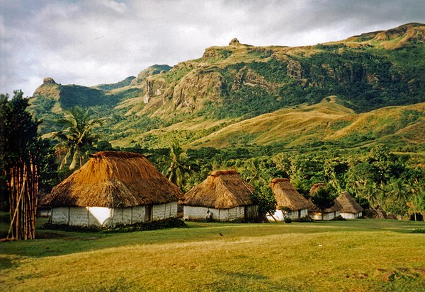 Several bure (one-room Fijian houses) in the village of Navala in the Nausori Highlands. BureNavala2.jpg