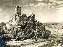 detailed drawing of Rötteln Castle around 1828