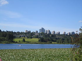 Burnaby highrises across Deer Lake.JPG