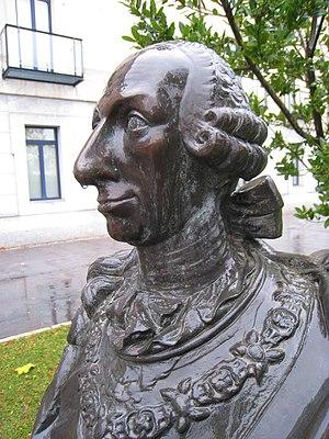 English: Bust of King Charles III of Spain, Un...
