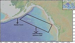 Cobb–Eickelberg Seamount chain - Cobb-Eickelberg seamount chain extending all the way to Aleutian Trench