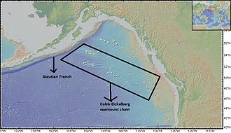 Cobb–Eickelberg Seamount chain - Cobb-Eickelberg seamount chain extending all the way to Aleutian Trench