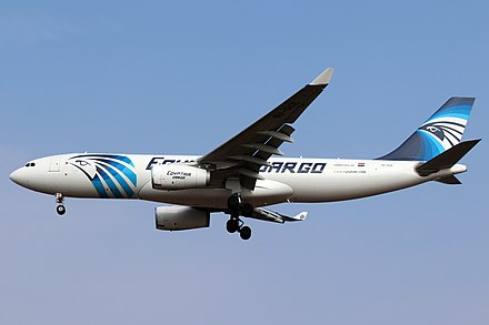 The first A330-200P2F was delivered to EgyptAir Cargo on 3 August 2018, with no bulge CGN 20190331 SU-GCE 05.jpg