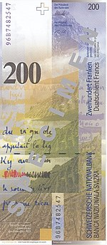 200 Franken Rückseite