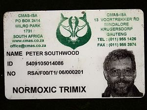 Trimix (breathing gas) - CMAS-ISA Normoxic Trimix diver certification card