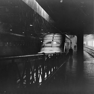 Hiawatha (train) - A 1935 Beaver Tail observation car at Union Station (Chicago) in 1943