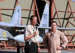 CNN senior Pentagon correspondent Jamie McIntyre (left) conducts a live interview with US Air Force Capt. Patrick Driscoll.jpg