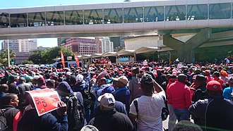 Congress of South African Trade Unions - A COSATU organised protest in Cape Town calling for an end to state capture and for the prosecution of those involved in the administration of President Jacob Zuma.