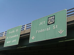 New Jersey Route 151 - Signage along County Route 537 heading towards the Central Gateway. Although signed as Tenth Street, this is a discontinuous portion from the original route itself