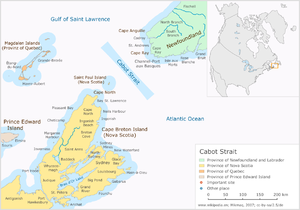 Cabot Strait - The Cabot Strait lies north of Cape Breton Island, Nova Scotia, Canada.