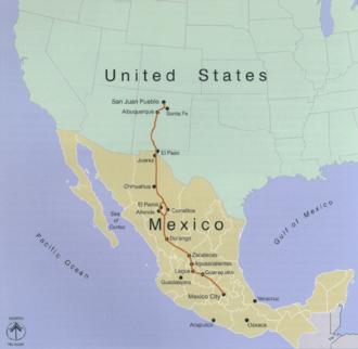 Camino Real de Tierra Adentro - Map of El Camino Real de Tierra Adentro
